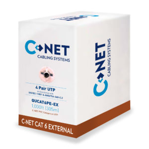 C-NET CAT6 UTP BLACK PE EXTERNAL CABLE 305MTR