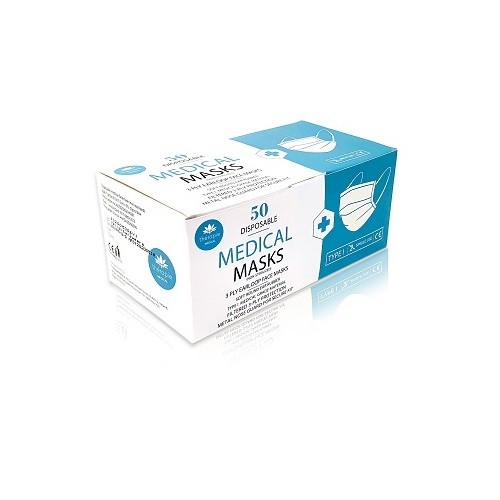 Disposable, Type I 3-Ply Medical Masks, 50pk